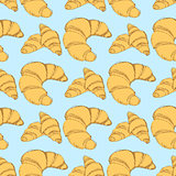 Sketch croissants set in vintage style