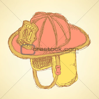 Sketch fire helmet in vintage style