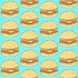 Sketch tasty hamburger in vintage style