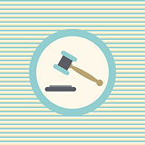 Auction or hammer of justice color flat icon