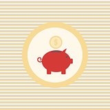 Pig piggy bank color flat icon