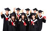 Group Of happy asian Students Celebrating Graduation