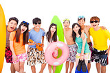 summer, beach, vacation, happy young group concept