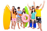 summer, beach, vacation, happy young group travel concept