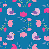 seamless summer tiny floral with bird pattern on blue background