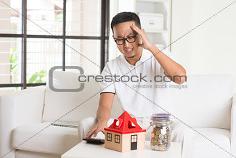 asian casual male and house loan