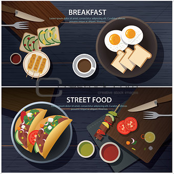 breakfast and street food banner
