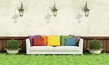 Garden with elegant sofa