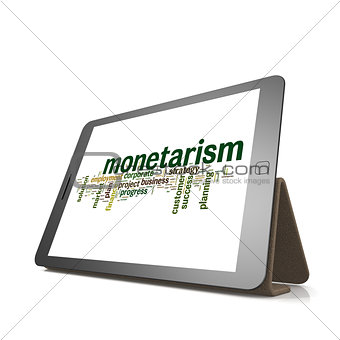 Monetarism word cloud on tablet