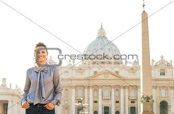 Portrait of smiling woman in Vatican City in Rome