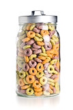 colorful cereal rings in jar