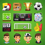 Realistic Vector Icons Set on the Theme of Soccer