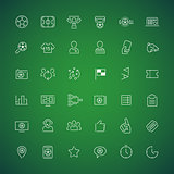 Thin Vector Icons on the Theme of Soccer