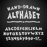 Hand Drawn Chalked Alphabet on Blackboard