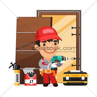 Carpenter Installs the Door