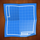 Blueprint Background on Wooden Surface