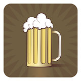 Vector icon of beer mug in engraved style