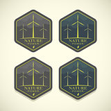 Vector eco icons of wind turbines