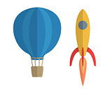Vector illustration of air balloon and rocket