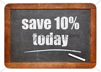 Save 10% today offer on blackboard