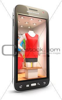 3d clothes shop inside smartphone