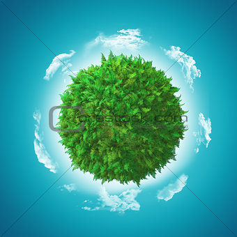 3D globe with fern and grass