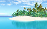 3D tropical island in sea