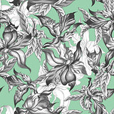 Tropical Seamless Background with Exotic Flowers