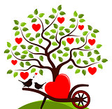 heart tree and love birds