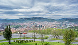 Bilbao skyline from Artxanda mountain, misty day
