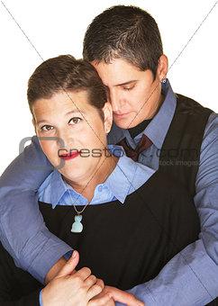 Calm Lesbian Couple Embracing