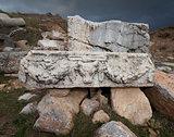 Stone Piece with Ram Head