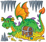 Dragon with treasure theme image 1