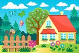 Garden and house theme background 1