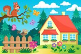 Garden and house theme background 2