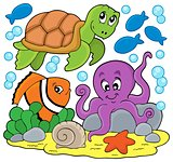 Sea animals thematic image