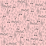 Cartoon hand drawn vector seamless pattern on the topic of music.