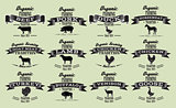 vector template in retro style for packaging with livestock and poultry