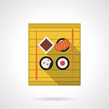 Sushi set flat color vector icon