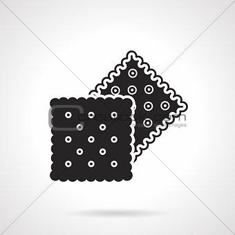 Crunchy crackers black vector icon