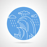 Waves and rain round vector icon