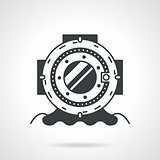 Scuba helmet black round vector icon
