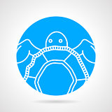 Sea turtle round vector icon