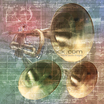 abstract grunge sound background with trumpets