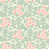 turquoise floral seamless pattern.