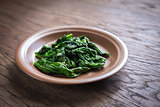 Portion of cooked spinach