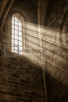 church window with sunbeams