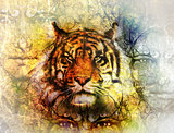 painting of a bright mighty tiger head on ornamental background