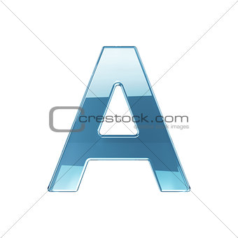 3d render of glass glossy transparent alphabet letter symbol - A