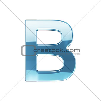 3d render of glass glossy transparent alphabet letter symbol - B